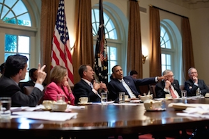 """Obama meets with Congressional Leadership July 2011,"" Official White House Photo by Pete Souza [Public domain], via Wikimedia Commons"