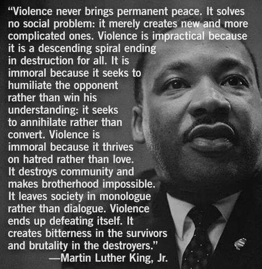 martin luther king non violent extremist 2018-7-1  while thoreau was a source of inspiration for martin luther king, to the masses, his seemingly extremist  martin luther king  king also used non-violent.