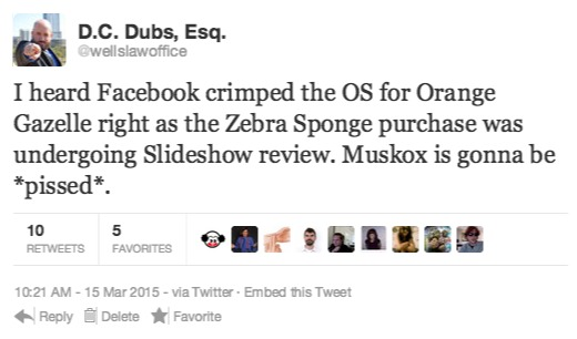I heard Facebook crimped the OS for Orange Gazelle right as the Zebra Sponge purchase was undergoing Slideshow review. Muskox is gonna be *pissed*.