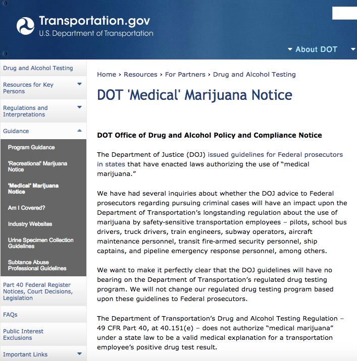 Screenshot from http://www.transportation.gov/odapc/medical-marijuana-notice