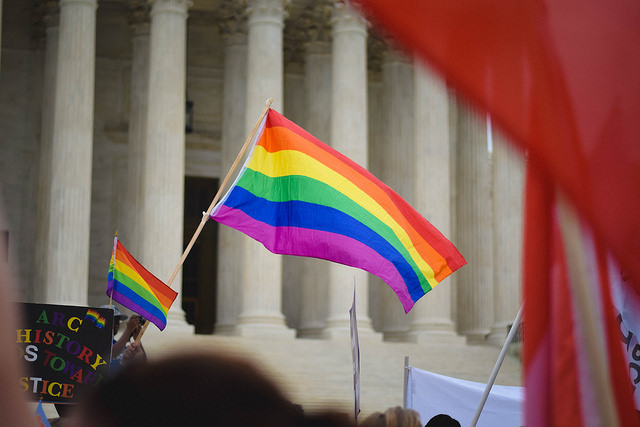"""Obergefell v. Hodges Decision Announced — June 26, 2015"" by Matt Popovich [Public domain, CC0 1.0 (https://creativecommons.org/publicdomain/zero/1.0/)], via Flickr"