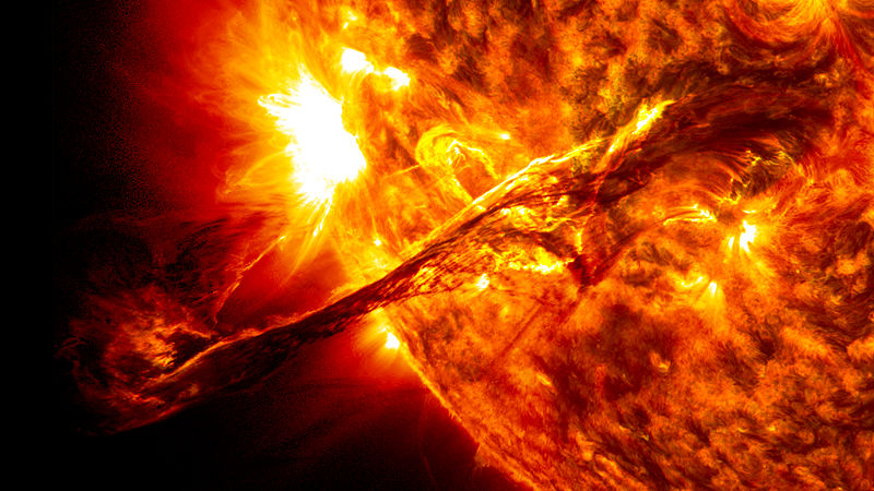 """""""Giant prominence on the sun erupted"""" by NASA/SDO/AIA/Goddard Space Flight Center [Public domain], via Wikimedia Commons"""