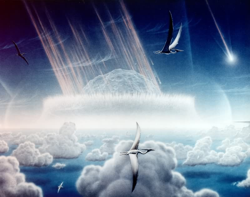 """Chicxulub impact - artist impression"" uploaded by Danielm at Dutch Wikipedia [Public domain], via Wikimedia Commons"